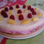 Gâteau de fête à la mousse de mangue et framboise