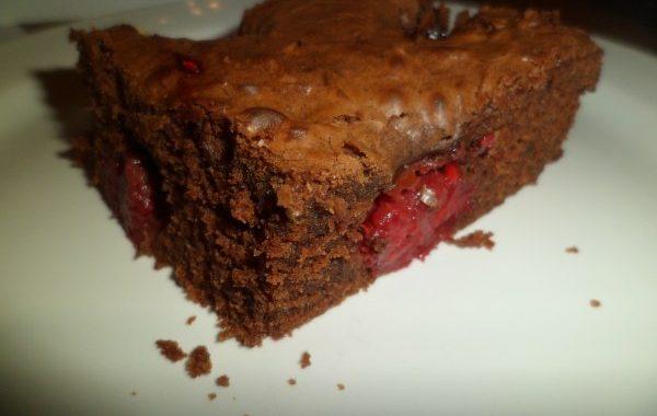 Brownies au coeur de framboises