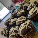 Muffins chocolat noisette, nappage chocolat blanc