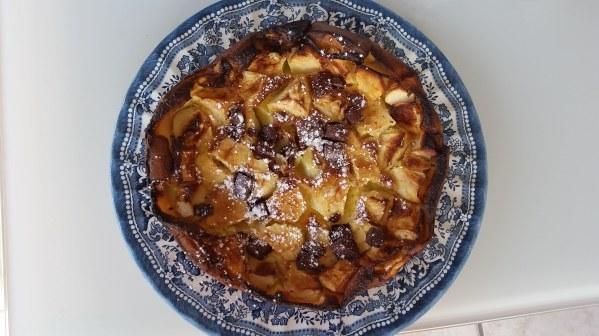 Clafoutis pommes et pépites de chocolat
