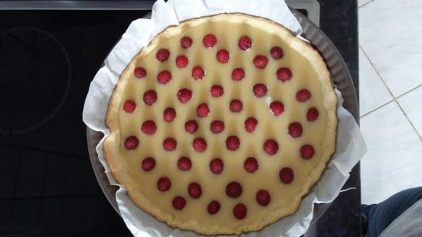 Tarte au chocolat blanc et framboises facile