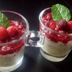 Verrines framboises, Crip's et chocolat blanc