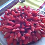 Tarte aux fraises pâte chocolatée